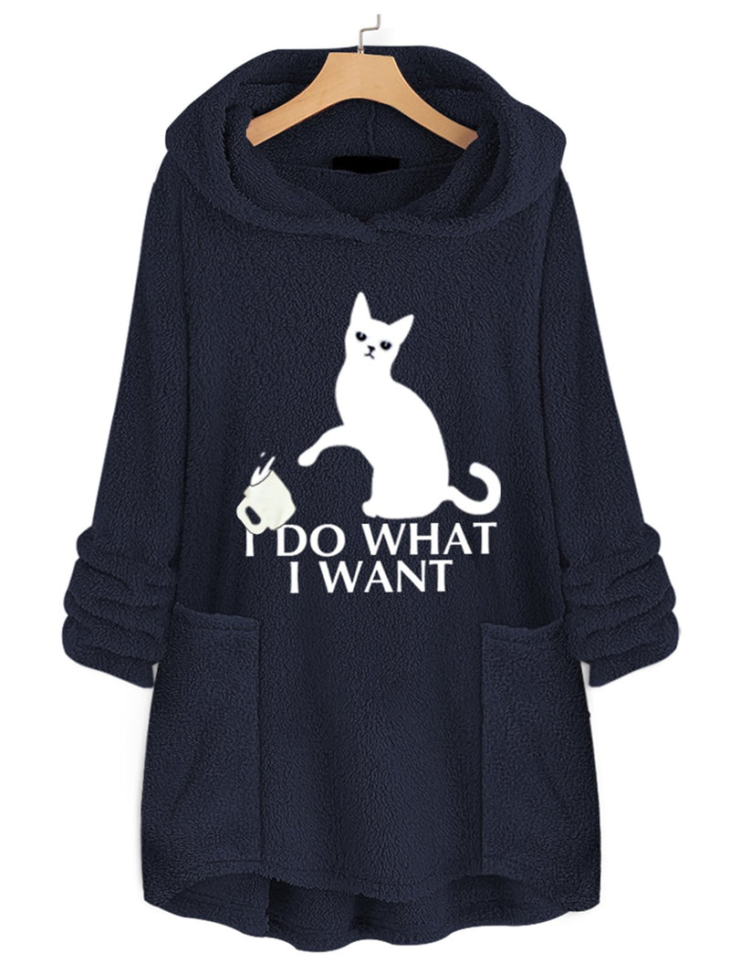 Plus Size Kitten Print Long Asymmetric Fleece Sweatshirt