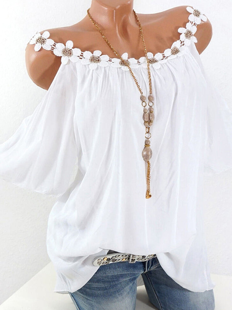 Summer Lace Edge Shoulder Cold Shoulder Round Neck Women Blouse