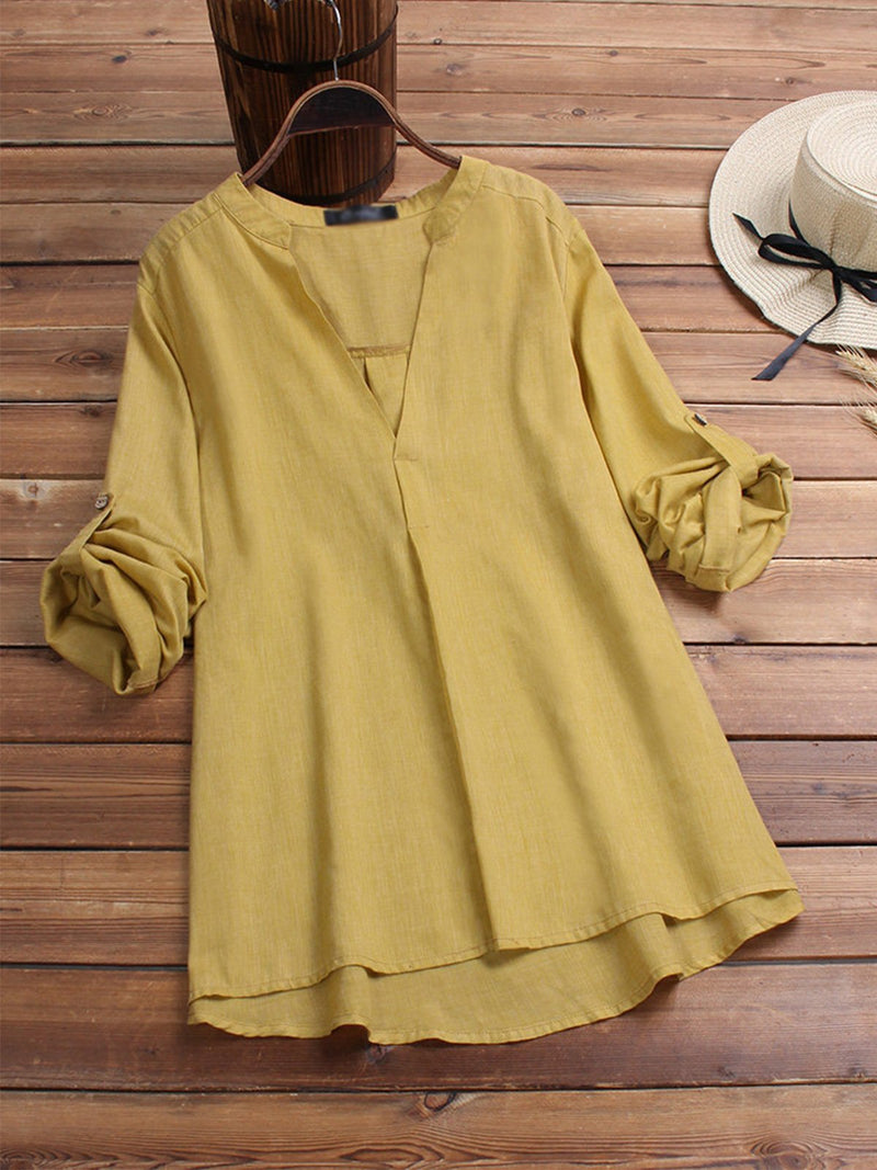Colors Solid Plus Size Long Sleeve Loose V Neck Shirt
