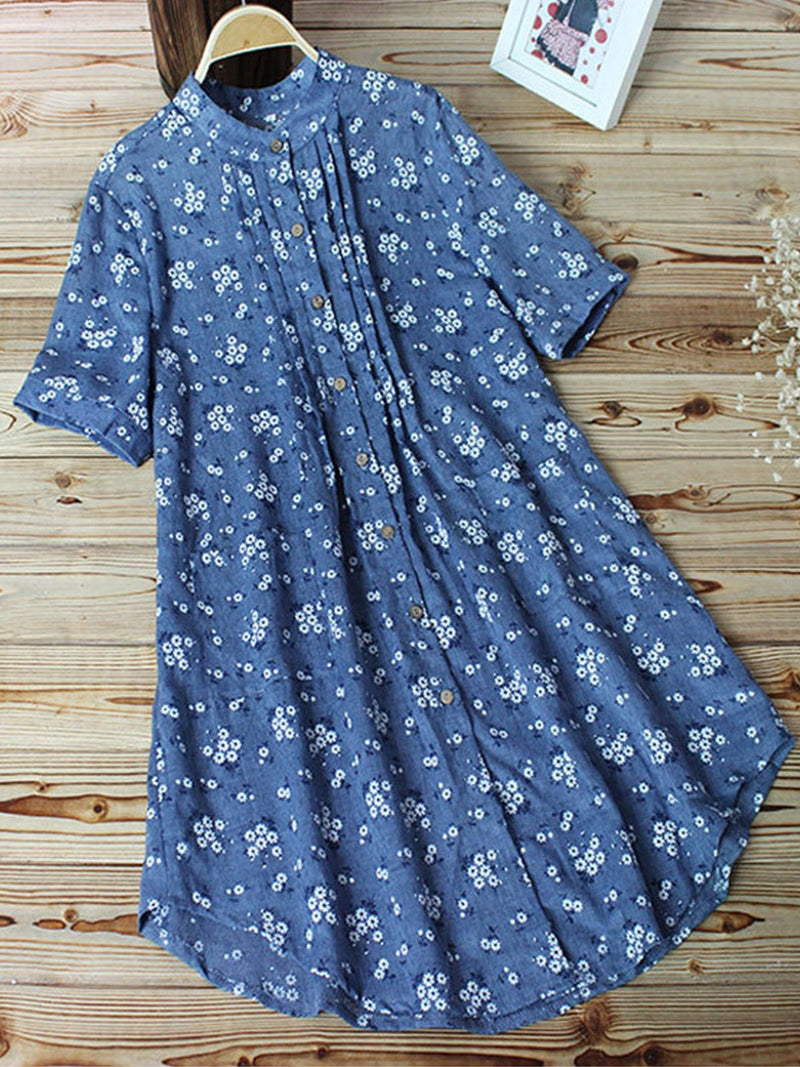 Summer Linen/Cotton Printed Loose Floral Dress
