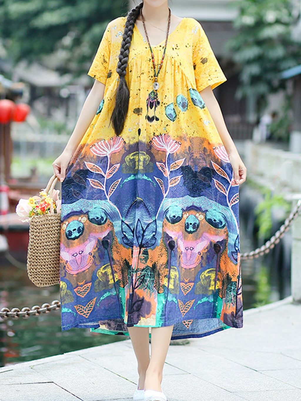 Short Sleeve Painting Print Wide A-Line Dress