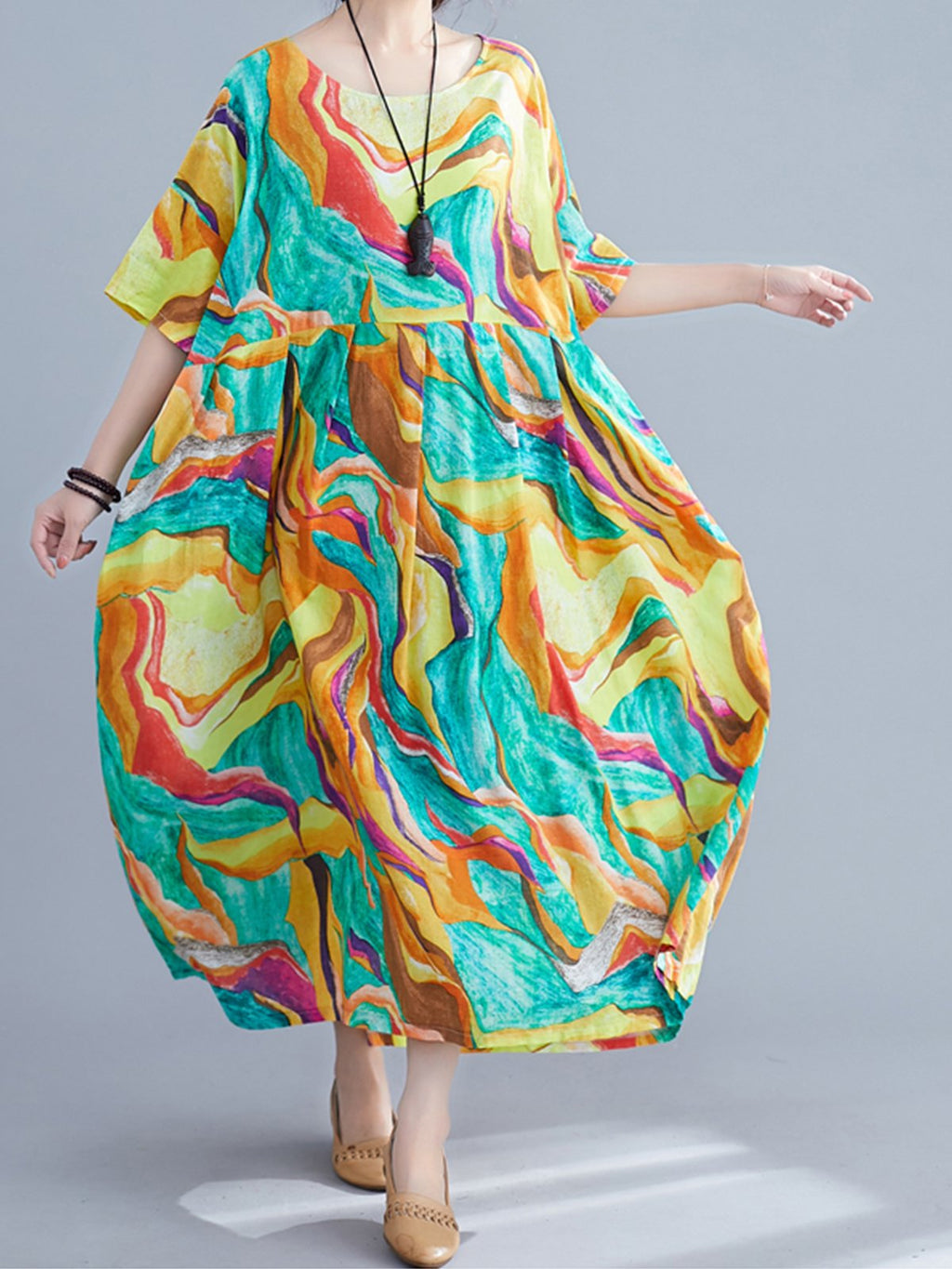 Multicolor Painting Print Loose A-Line Ankle-Length Dress