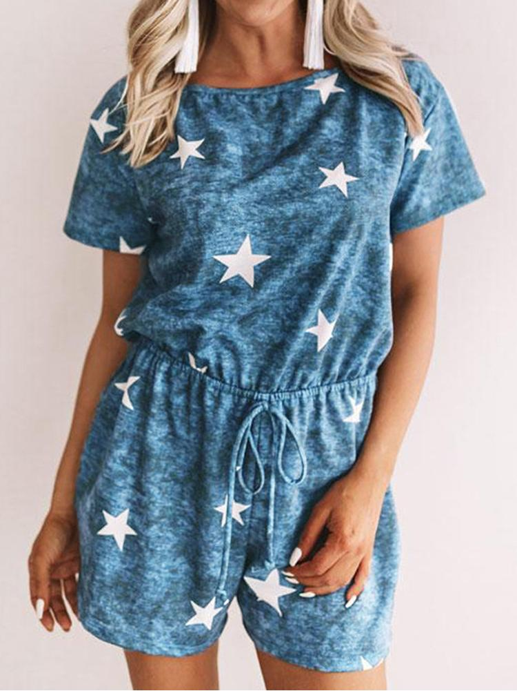 Star Print Lace-Up Shorts Women Jumpsuits