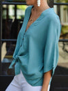 Sweet Button-Down Plunging V Neck Loose Short Sleeve Chiffon Blouse
