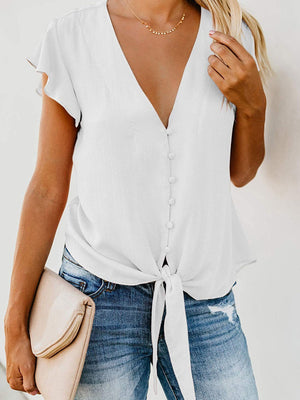 Ruffle V Neck Chiffon Short Sleeve Shirt