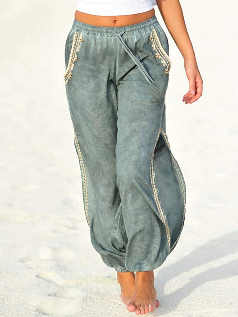 Summer Corduroy Side Slit Draw-String Waist Haren Pants