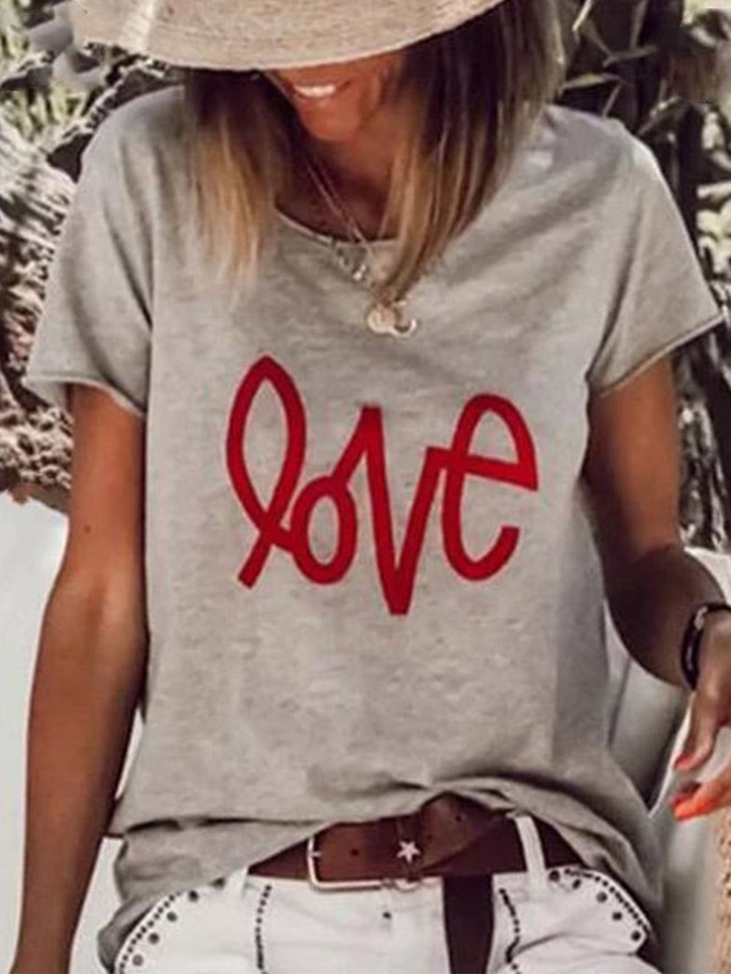 Casual Loose Love Letter Print Short Sleeve T-Shirt