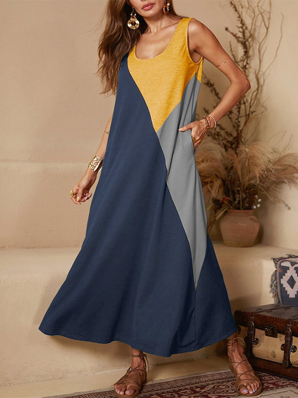 Color Block Paneled Sleeveless Full-Length A-Line Vest Dress
