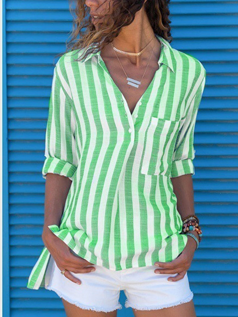 Plus Size Summer Stripe Print Half Sleeve Casual Shirt