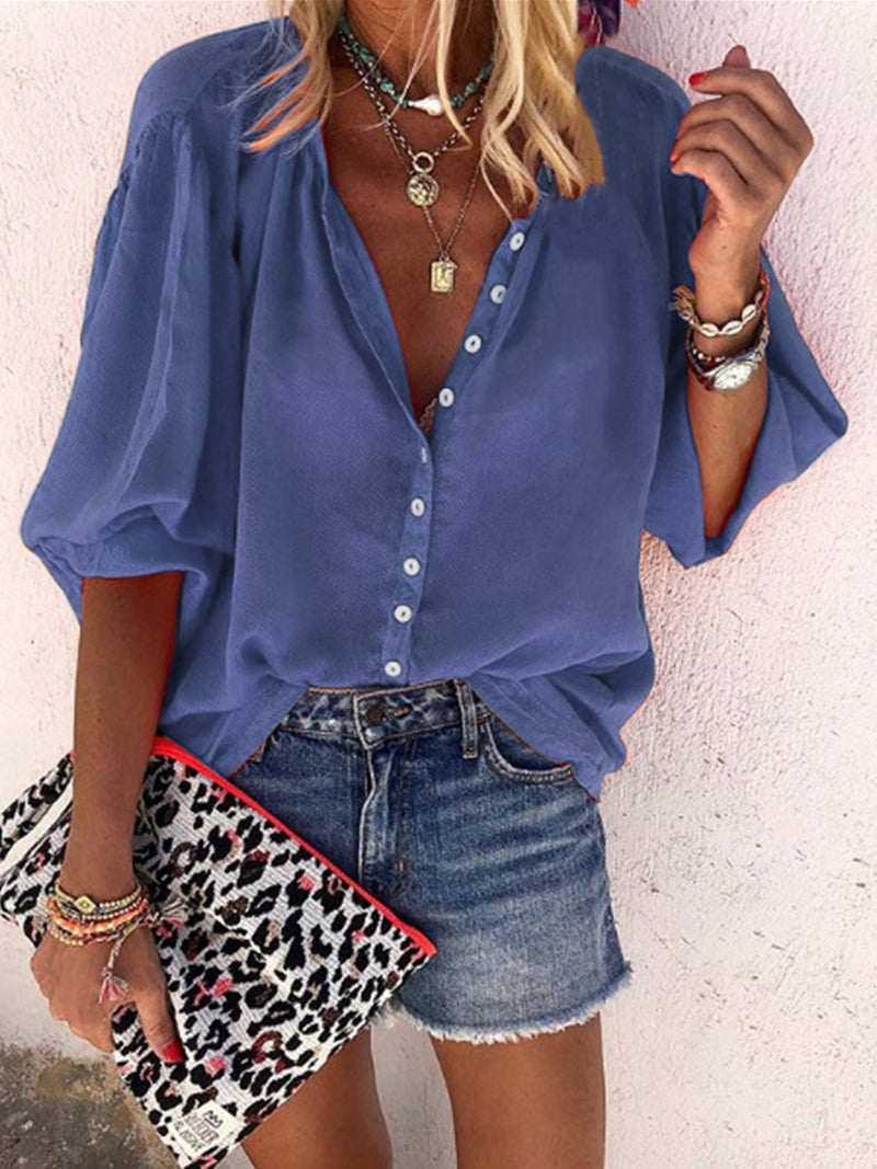Bloomer Sleeveless Solid Button-Down V Neck Plus Size Shirt