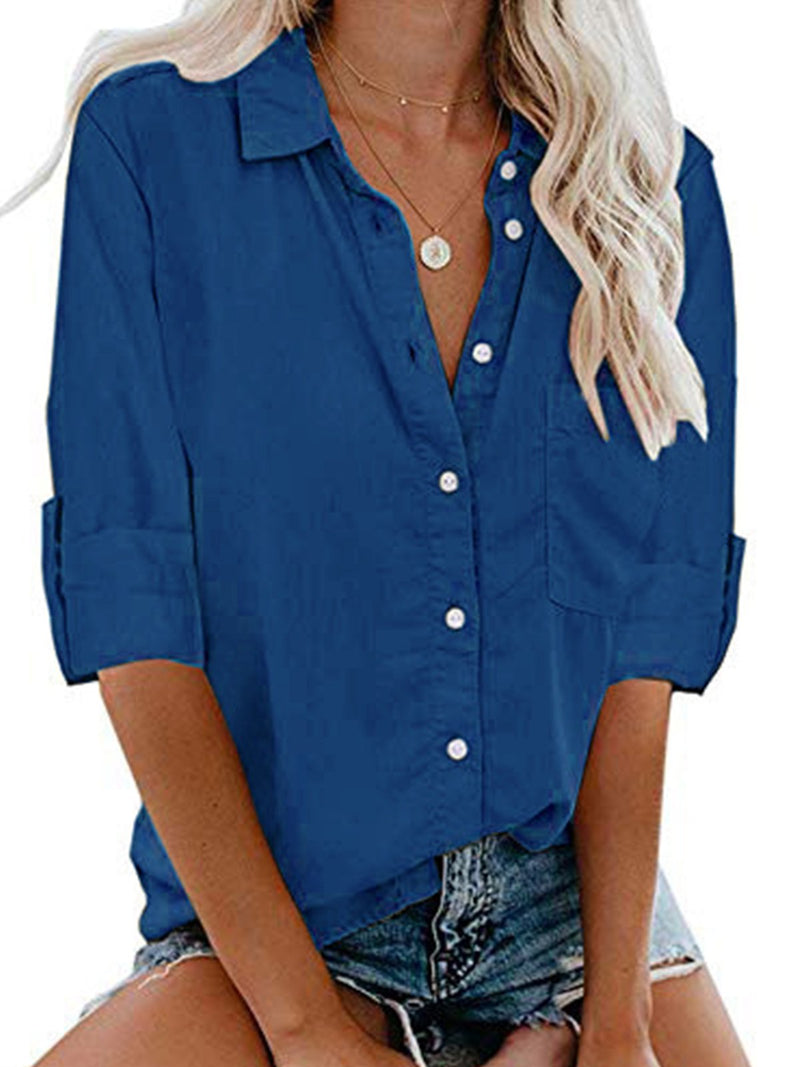 Plus Size Solid Button-Down Shirt Collar Long-Sleeved Pocket Shirt