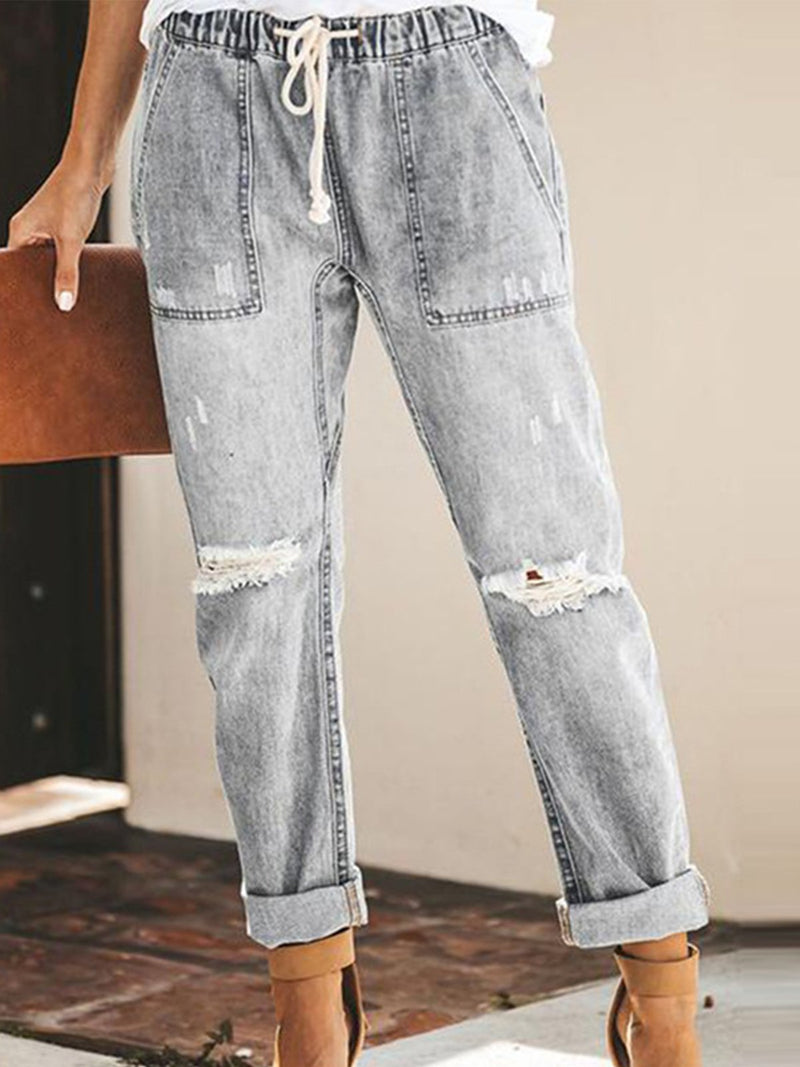 Distressed Draw-String Waist Pocket Ripped Denim Crop Pants