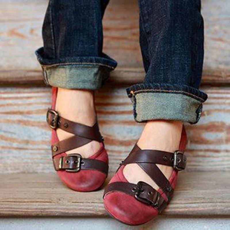 Vintage Buckle Strap Cross Design Casual Flats