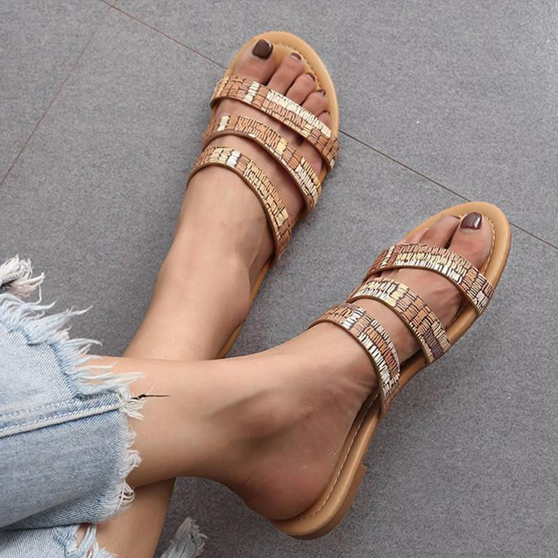 Band Strap Vintage Flat Heels Casual Mule Sandals