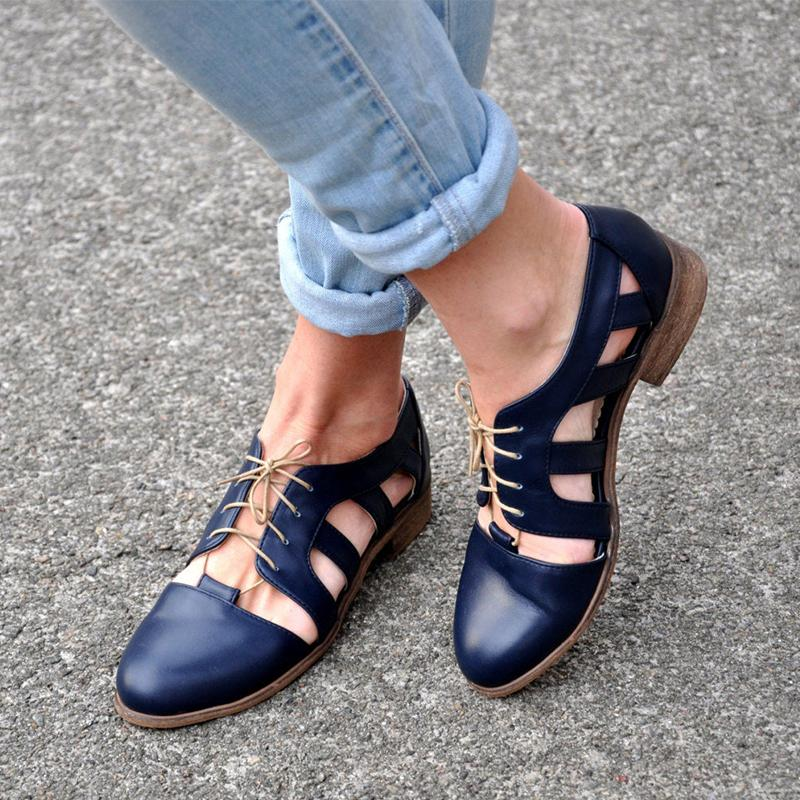 Blue Cutout Lace-Up Medium Heels Sandals