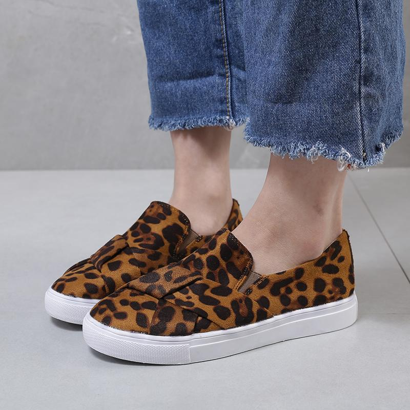 Leopard Print Non-Lace Slip-On Casual Loafers