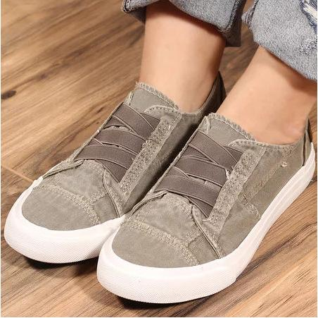 Raw Edge Strap Canvas Casual Slip-On Female/Male Shoes