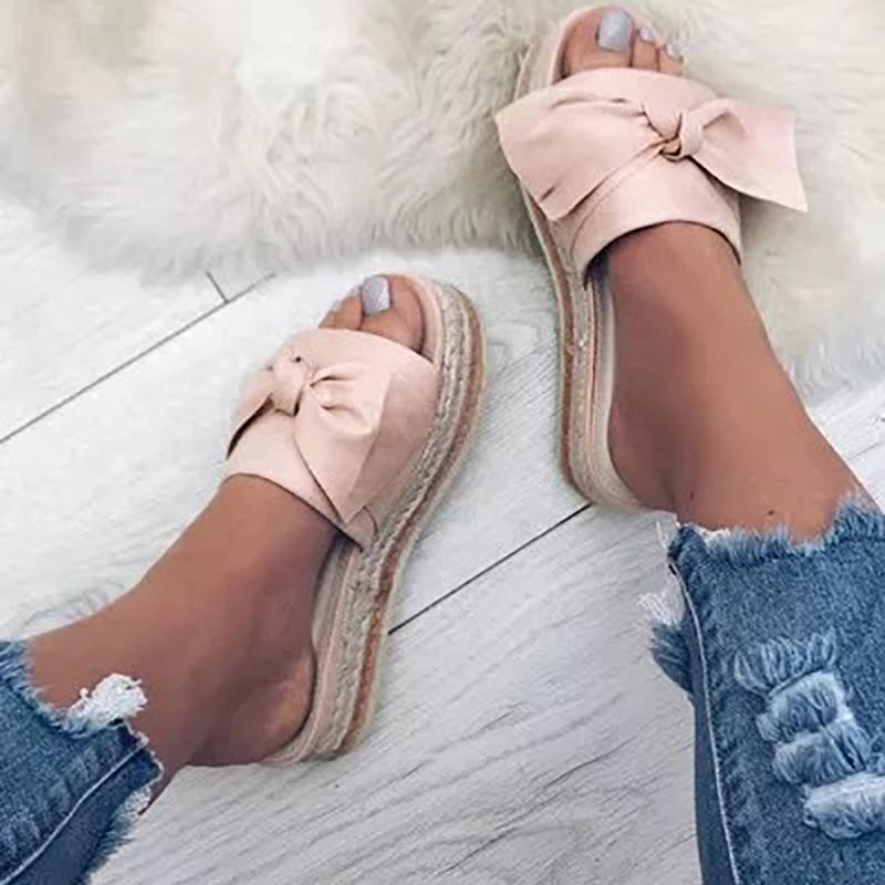 Women Bow Espadrilles Platform Mules Shoes