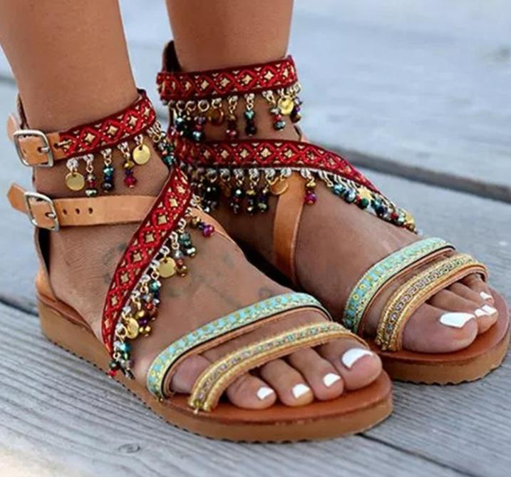 Folk Style Sparkling Trim Buckle Crisscross Sandals