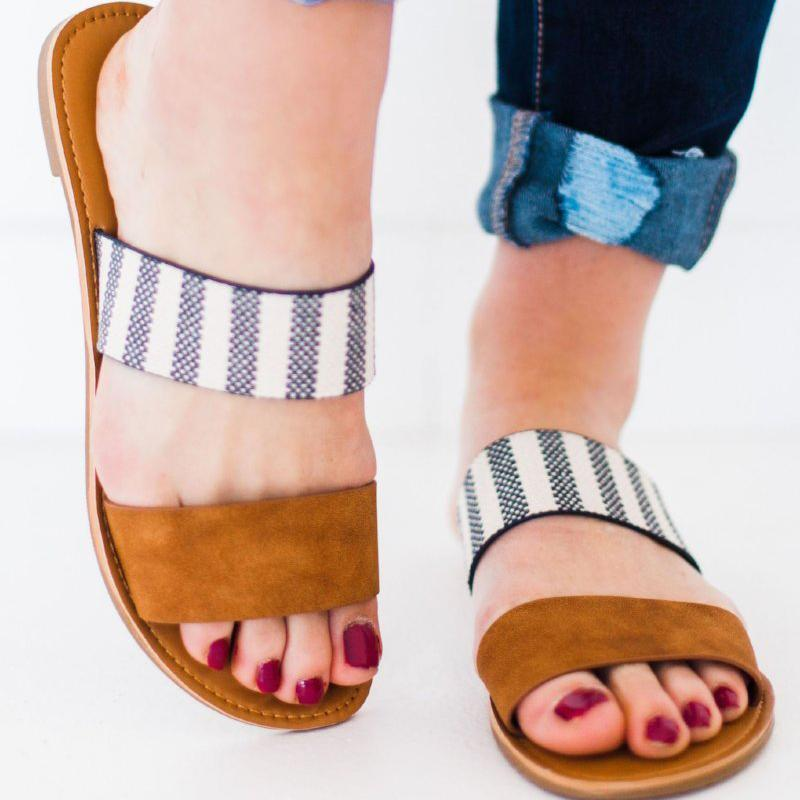 Band Striped Ribbon Flat Strapless Mule Sandals