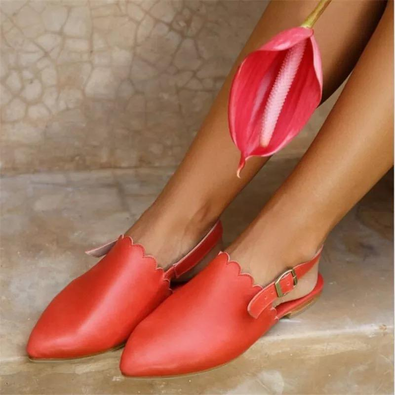 Pointy Toe Buckle Casual Flat Heels Mule Sandals
