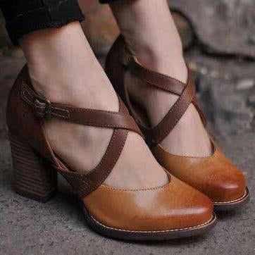Brown Pointy Toe Ankle-Strap Buckle High Chunky Heels