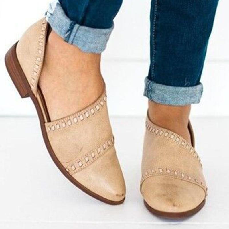 Women Pointy Toe Low Heels Vintage Pu Sandals