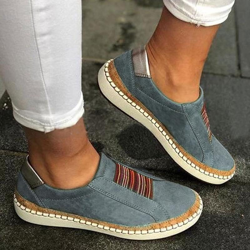 Multicolor Trim Rubber Color Block Casual Women Casual Flat Heels Sneakers