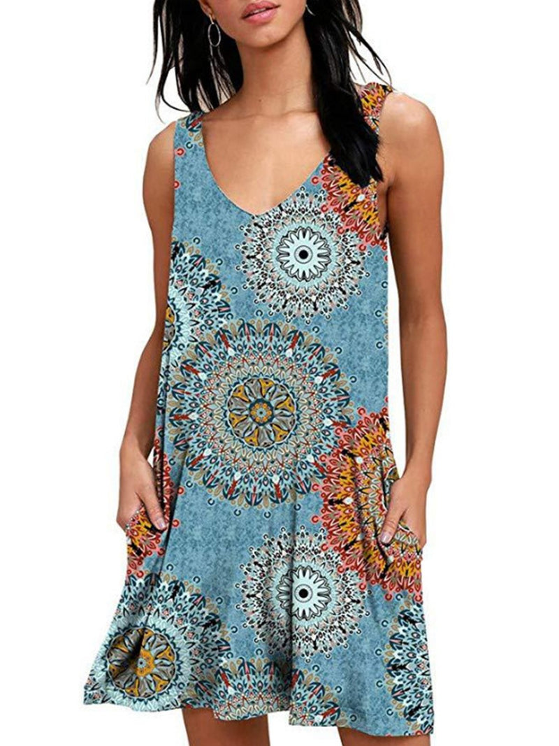Spring/Summer V Neck Printed Sleeveless Pocket Casual Dress