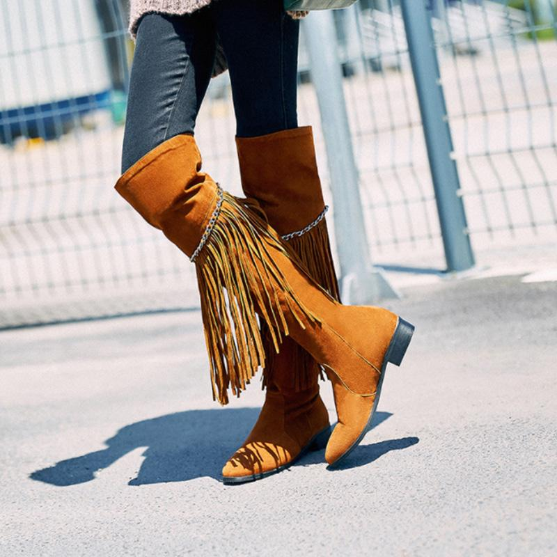 Tassel Solid Over-the-knee Boots