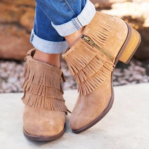 Fringe Side Zip Low Heels Artifical Suede Booties