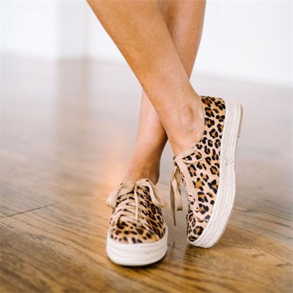 Leopard Print Canvas Lace-Up Straw-Weaved Platforms Women Shoes