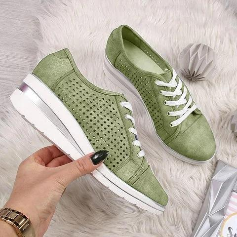 Summer Hole Hollow Well-Ventilated Lace-Up Wedges Shoes