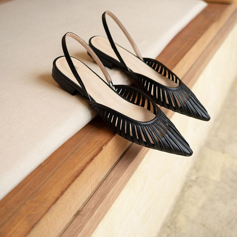 Elegant Point Toe Hollow-Out Low Heels Mules Sandals
