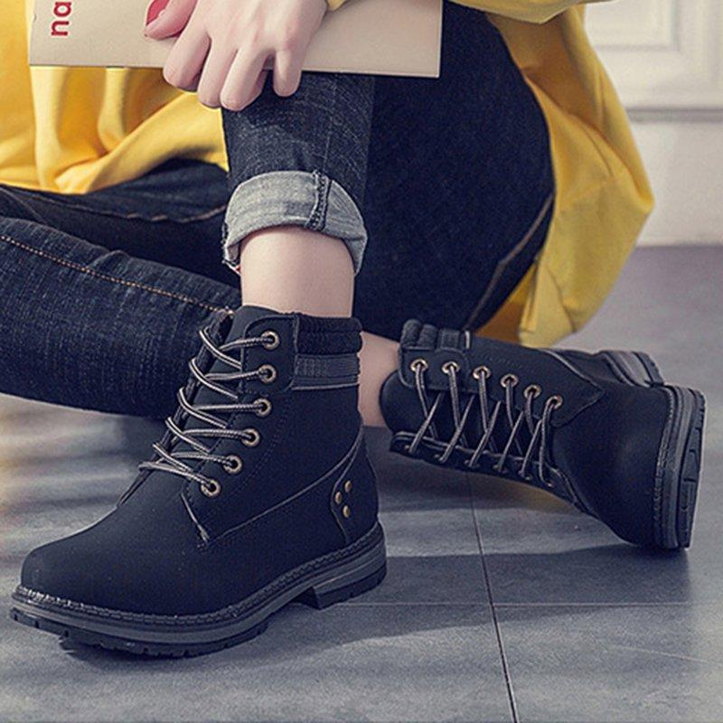 Women Autumn Winter Fur Ankle Boots Waterproof Lace-Up Shoes Snow Boots