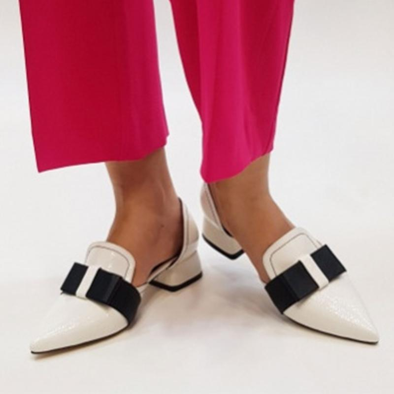 Chic Women Color Block Bowknot Point Toe Chunky Heel Sandals