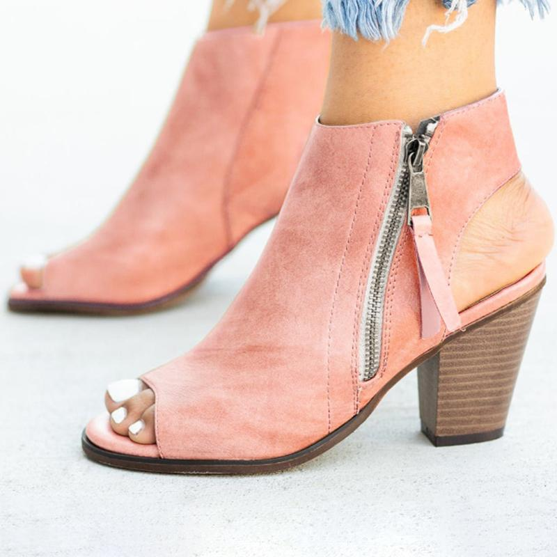 Hollow Out Side-Zipper Peep Toe Chunky Heels Sandals