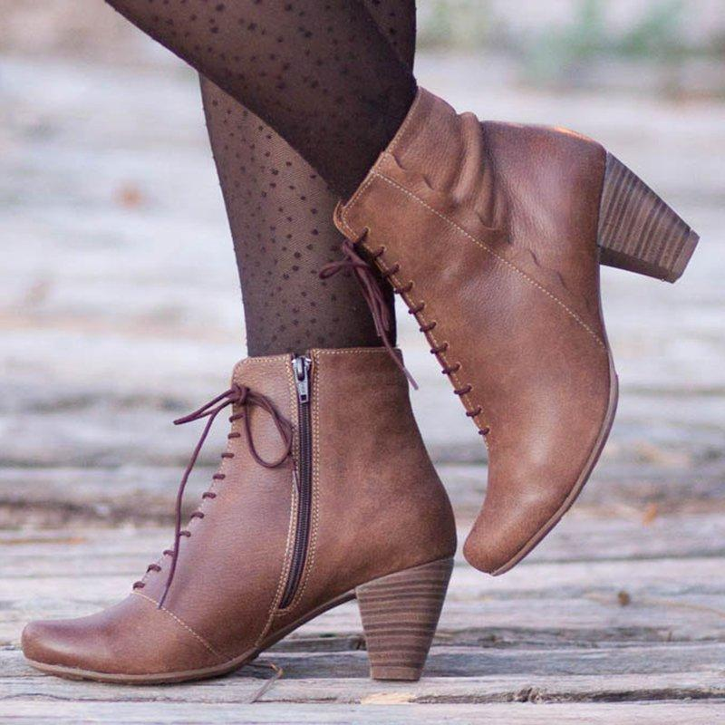 Elegant Side Zipper Closed Toe Booties Chunky Heel Women Ankle Boots