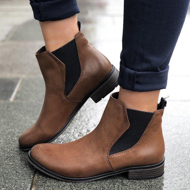 Elastic Band Slip-On Boots Low Heel Vintage Women Ankle Boots
