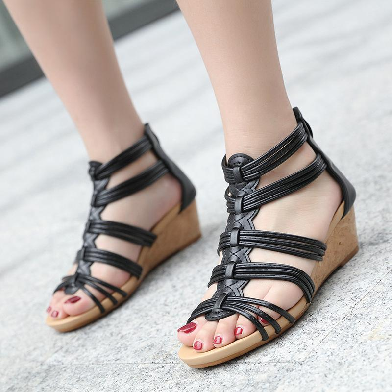 Vintage Hollow-Out Wedges Back-Zipper Gladiator Sandals