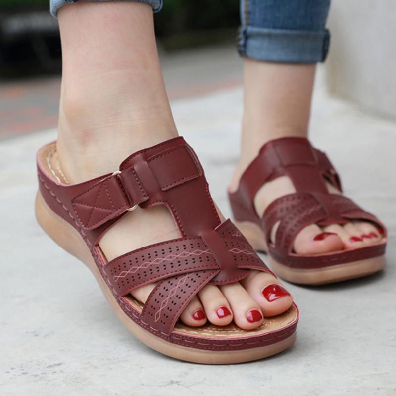 Hollow Hook&Loop Cross-Band Slip-On Summer Sandals