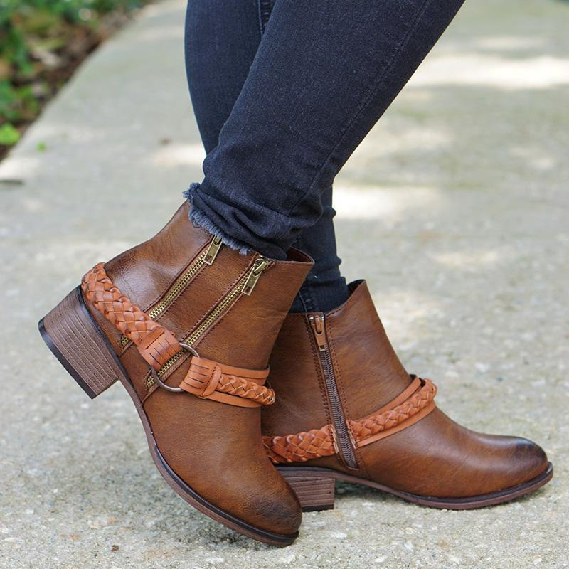Plus Size Vintage Buckle Double Zip Braid Chunky Ankle Booties