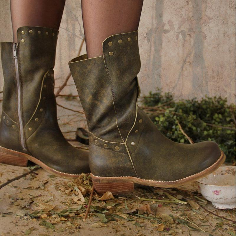 Vintage Rivet Side-Zipper Low Heel Round Toe Mid-Calf Boots