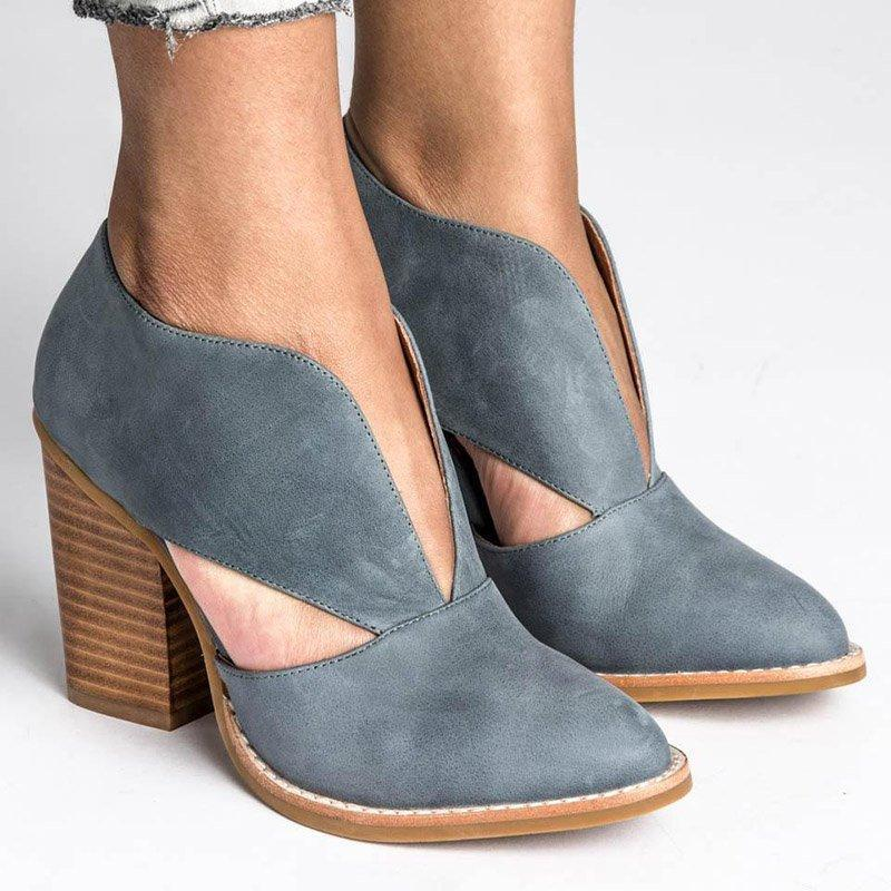 Round Toe Women Hollow Chunky Heel Casual Pu Ankle Boots