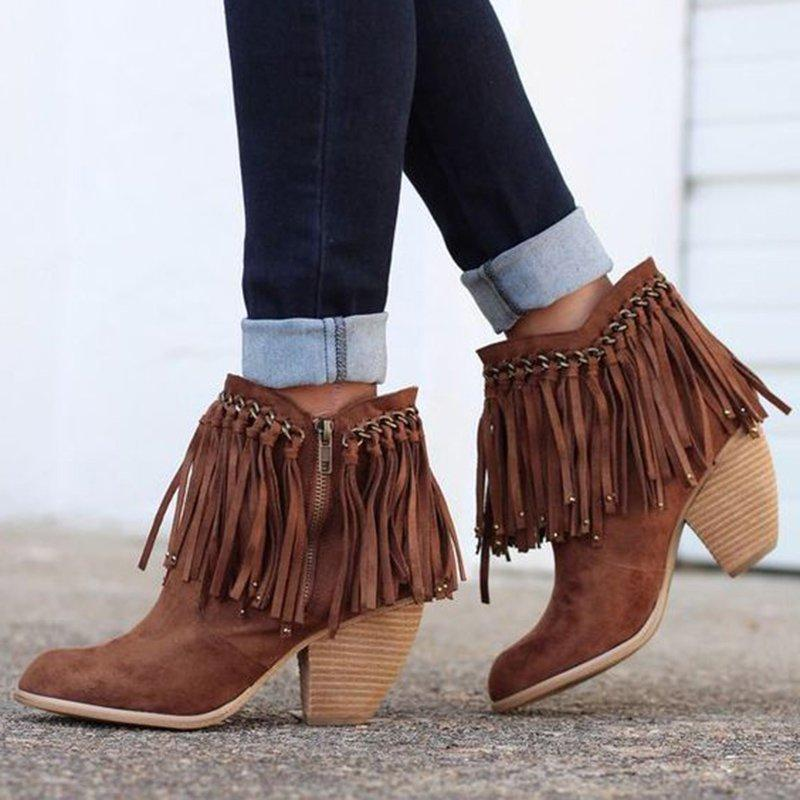 Ankle Artificial Suede Boots Tassel Zipper Womens Casual Booties