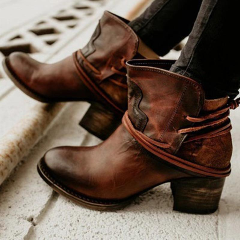 Vintage Back Lace-Up Medium Chunky Heels Ankle Booties