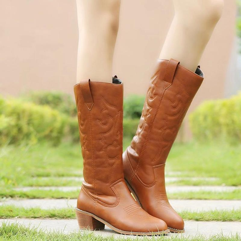Autumn/Winter Stitching Medium Chunky Heels Knee-High Boots