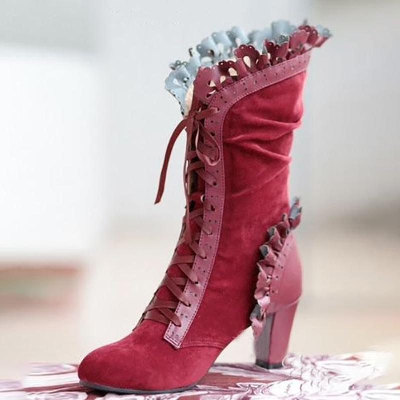 Vintage Elegant Lace Trim Lace-Up High Heels Mid-Calf Boots