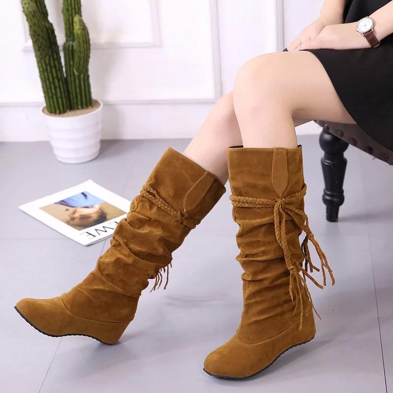 Fringe Braid Trim Round Toe Flocking Medium Heels High Boots