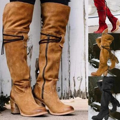 Knee-High Lace-Up High Chunky Heels Round Toe Boots